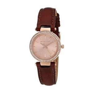 Michael Kors rose gold leather watch stainless